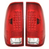 99-07 FD F250 LED Tail Lights Lamp (Red-Crystal)