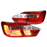 12-13 TY Camry LED Light Bar Tail Lights Lamp (Red-Clear)
